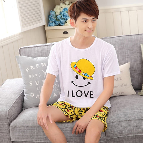 Summer Men Pajama Set Cartoon 100% Cotton Sleep Shirt & Shorts Suit  Short Pyjamas Plus Size 4XL 5XL Casual Sleepwear Pajamas
