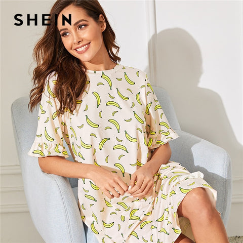 SHEIN Lady Casual Ruffle Hem Banana Print Night Dress Women Summer Half Sleeve Round Neck Sleepwear Cute Stretchy Nightgown