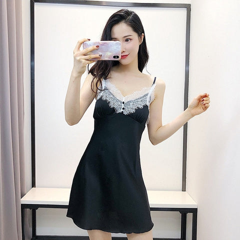 QWEEK Pyjamas Women Summer New Shorts Sexy Nightwear Two-piece Women Satin Pajamas Set Suit Artificial Silk Home Lace Chest Pad