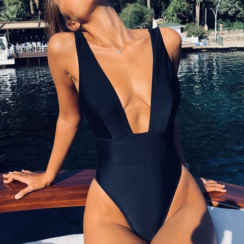 White swimsuit women Push up bathing suit Deep V-neck swimwear women Sexy bodysuit one-piece brazilian bikini