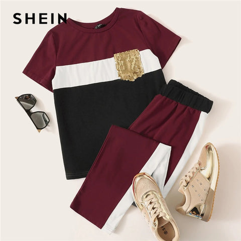 SHEIN Sequin Pocket Patched Colorblock Top and Pants Set Short Sleeve Two Piece Set 2019 Casual Spring Autumn Women Sets