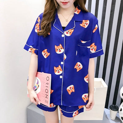 Women Pajama Set Bangtan Boys Kpop Harajuku Cartoon Printed Kawaii Pyjamas Korean Japanese Kawaii Pijama Mujer Cotton Sleeepwear