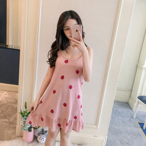 Women Sling Nightgown Sexy Sleepwear Short Nightdress