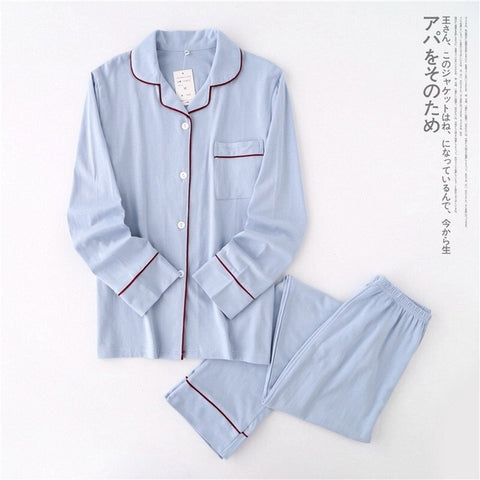 Casual Couple Solid 100% cotton pajamas sets long-sleeve sleepwear