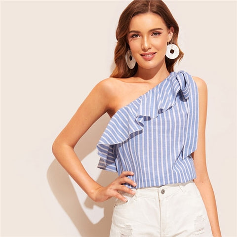 SHEIN Blue Knotted Flounce One Shoulder Striped Summer Blouse Women Tops 2019 Sleeveless Sexy Top Vacation Cotton Ladies Tops