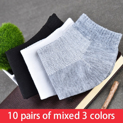 10Pair Solid Mesh Men's Socks Invisible Ankle