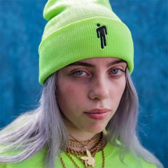 Billie Eilish Beanie 5 Colours Knitted Winter Hat Solid Hip-hop Skullies Knitted Hat Cap Costume Accessory Gifts Warm Winter