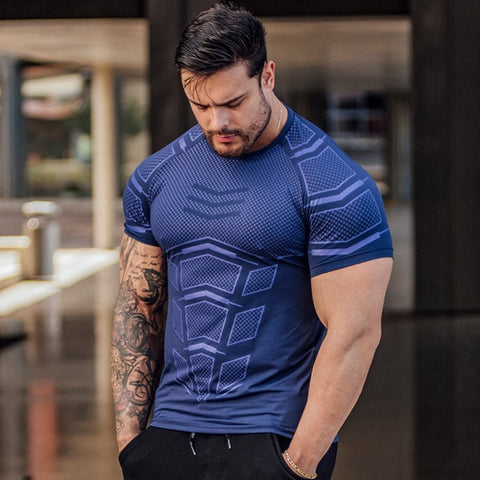 Mens Compression Skinny T-shirt Gyms Fitness Bodybuilding