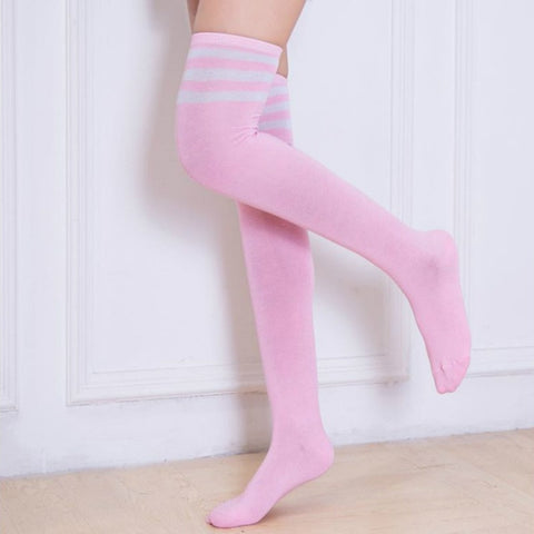 Nineteen Colors Striped Socks Women Over Knee