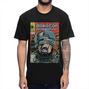 O-neck Rock And Roll Robocop Comic T-shirt Men's Quality Short Sleeve Big Size Homme T Shirt