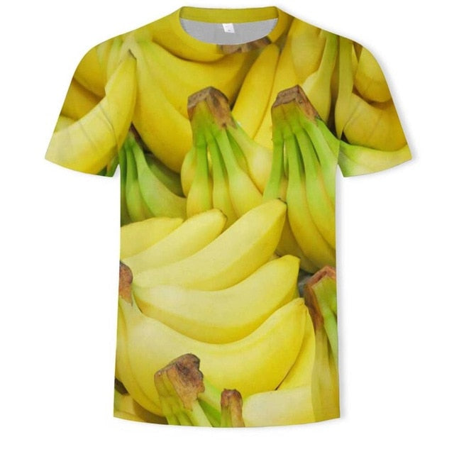 Can be customized high-quality 3D printing 2019 banana clothing fruit fashion 3D t-shirts men's and women's casual t-shirts