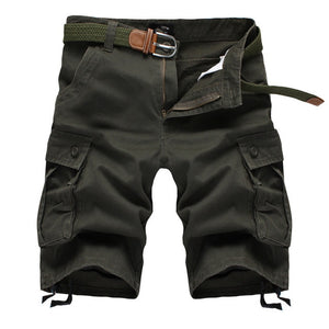 2020 Summer Men's Baggy Multi Pocket Military Cargo Shorts Male Cotton Khaki Mens Tactical Shorts Short Pants 29-44 No Belt