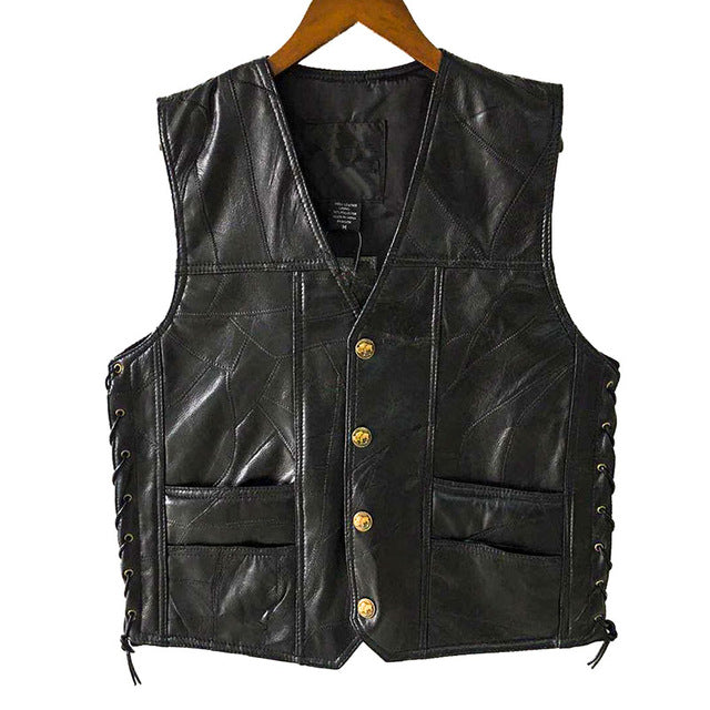 Leather Vests Men Sleeveless Jackets PU Vest Male Streetwear Punk Pocket Button Black Brand Motorcycle Waistcoat Jackets Coats