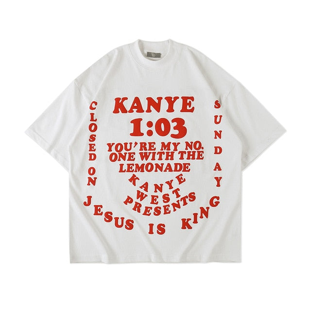 Kanye West T-shirt JESUS IS KING T-shirts New Songs Tee Front Wings angel Logo Print Sleeve Letter Tops