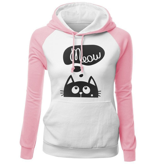 2018 Autumn Winter New Hoodies For Women Sweatshirt Kawaii CAT MEOW Print Fashion Hoody Kpop Sweatshirts Raglan Harajuku Hoodie