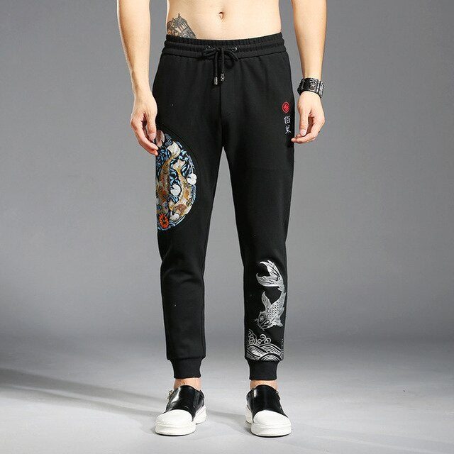#1827 Chinese Style Embroidery Skinny Joggers Men High Street Elastic Waist Sweatpants Streetwear Black Hip Hop Large Size 4XL