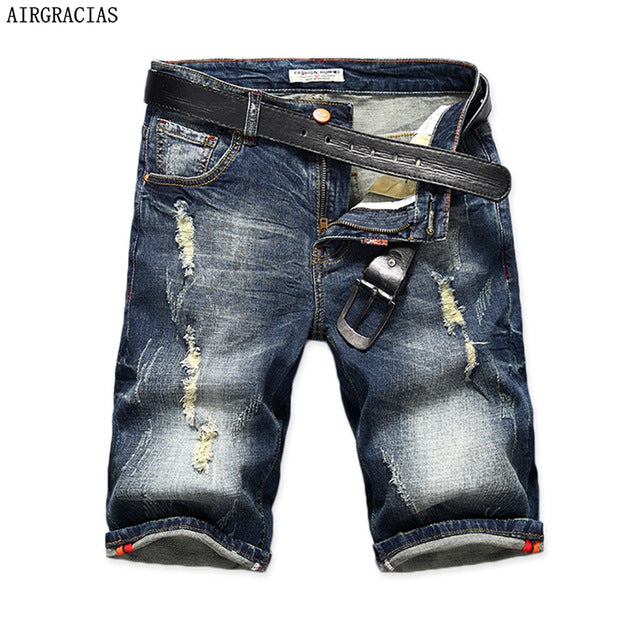 AIRGRACIAS New Fashion Mens Ripped Short Jeans Brand Clothing Bermuda Summer 98% Cotton Shorts Breathable Denim Shorts Male