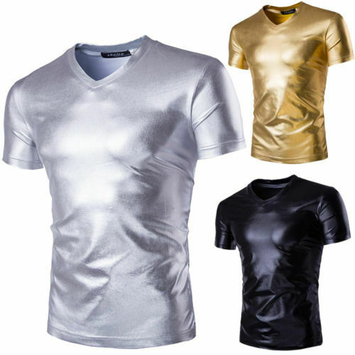 Men's 2019 Sexy Fun Patent Leather Luxury Black Gold T-Shirt Tops Tees Men Wet Look Latex DS Nightclub T Shirts Streetwear