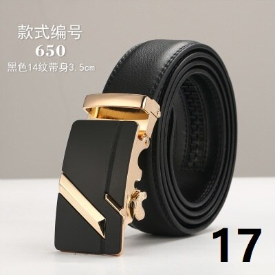 Automatic Buckle Black Genuine Leather Belt Brand 3.5cm Width Men's Belts  Fashion Cow Leather Belts for Men