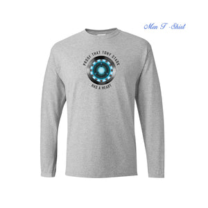 Proof That Tony Stark Has A Heart T Shirt Iron Man Arc Reactor Super Hero Long Sleeve Tops Tees Men New Cotton Casual Streetwear
