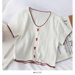 HELIAR T-shirts Women Flounce Hem Knitted Tee Female Cute Buttoned Up Tops V-Neck Solid Short Sleeve Crop T-shirt 2020 Summer