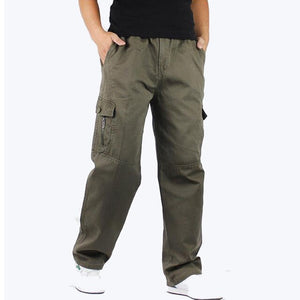 SHIFUREN Causal Men's Baggy Cargo Pants Loose Fit Workwear Plus Size XL-6XL Multi Pocket Military Overall Cotton Long Trousers