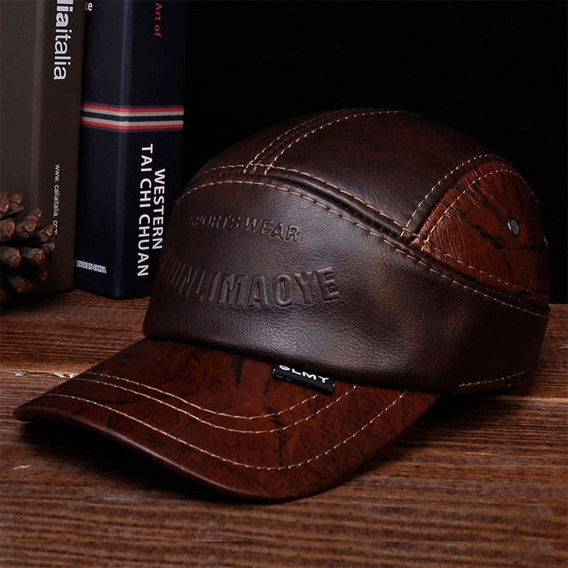 HL033 Winter Genuine Hat Leather Men Baseball Cap CBD High Quality Men's Real Leather Adult Solid