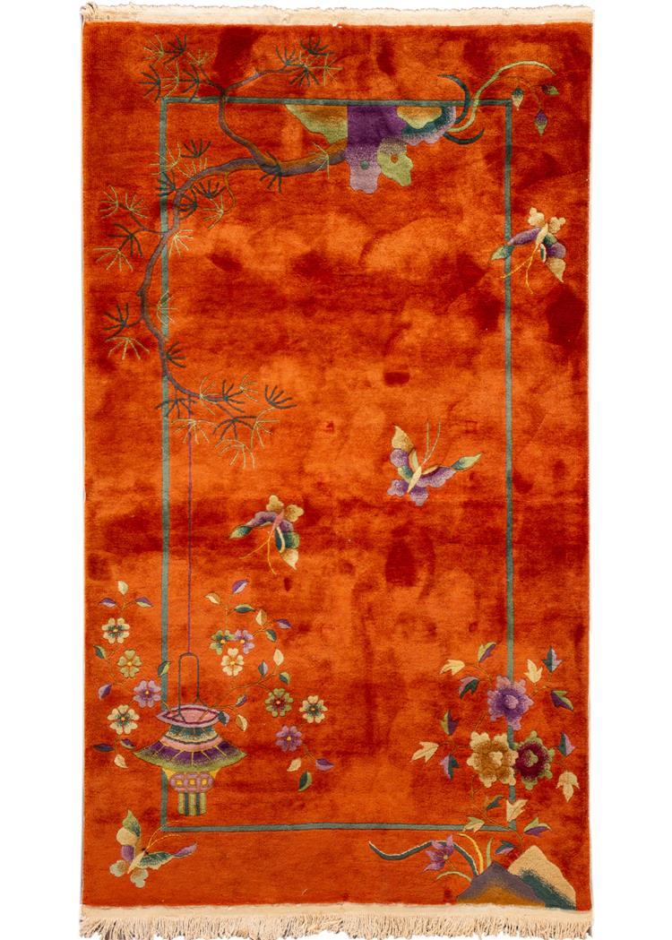 Early 20th Century Vintage Chinese Art Deco Wool Rug, 4' x 7'