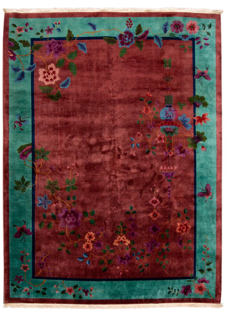 Early 20th Century Antique Chinese Art Deco Wool Rug, 9' x 12'