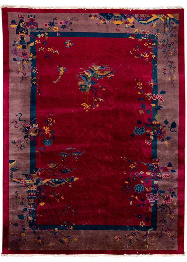 Early 20th Century Vintage Chinese Art Deco Wool Rug, 10' x 14'