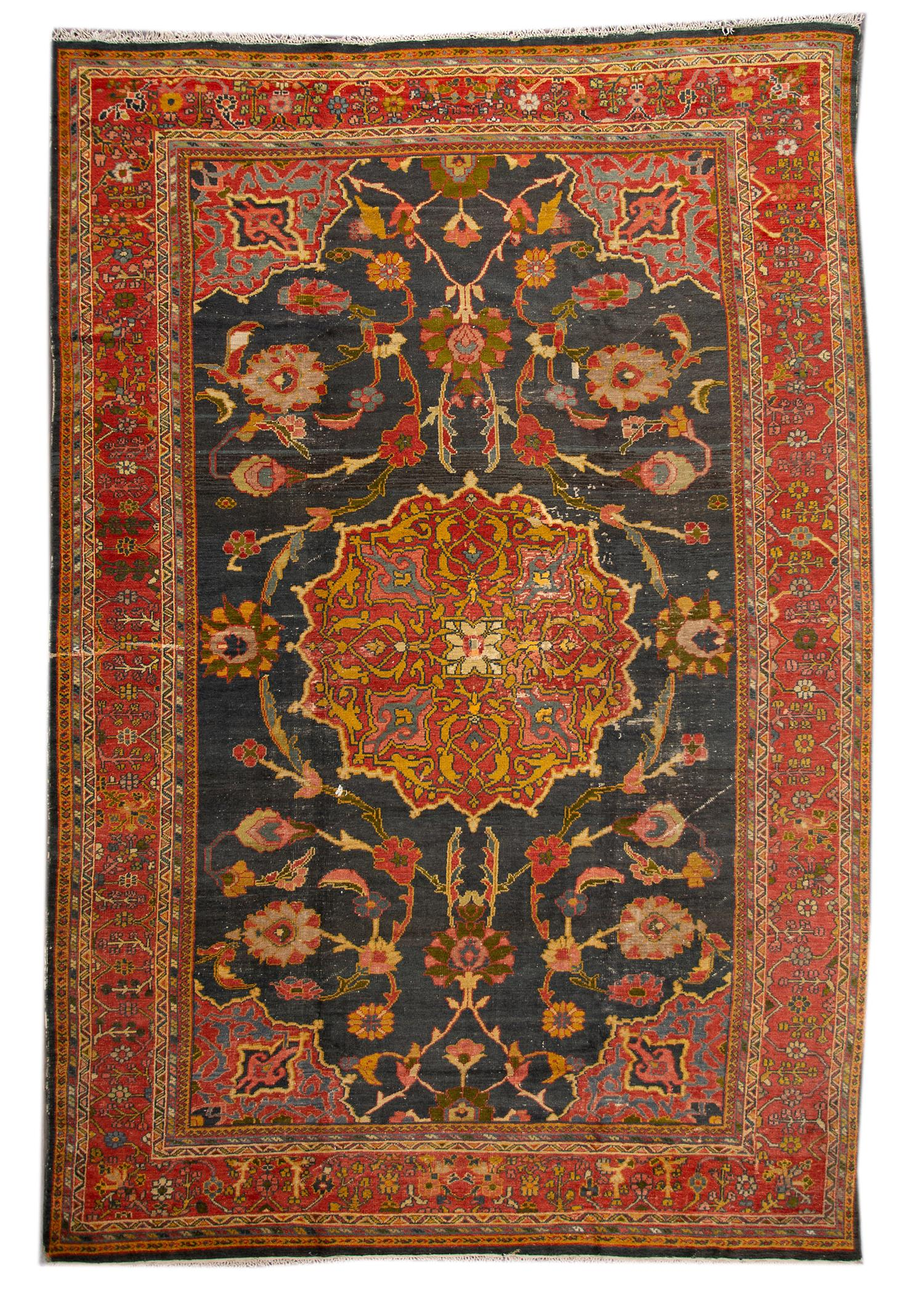 Antique Distressed Mahal Rug, 10X15