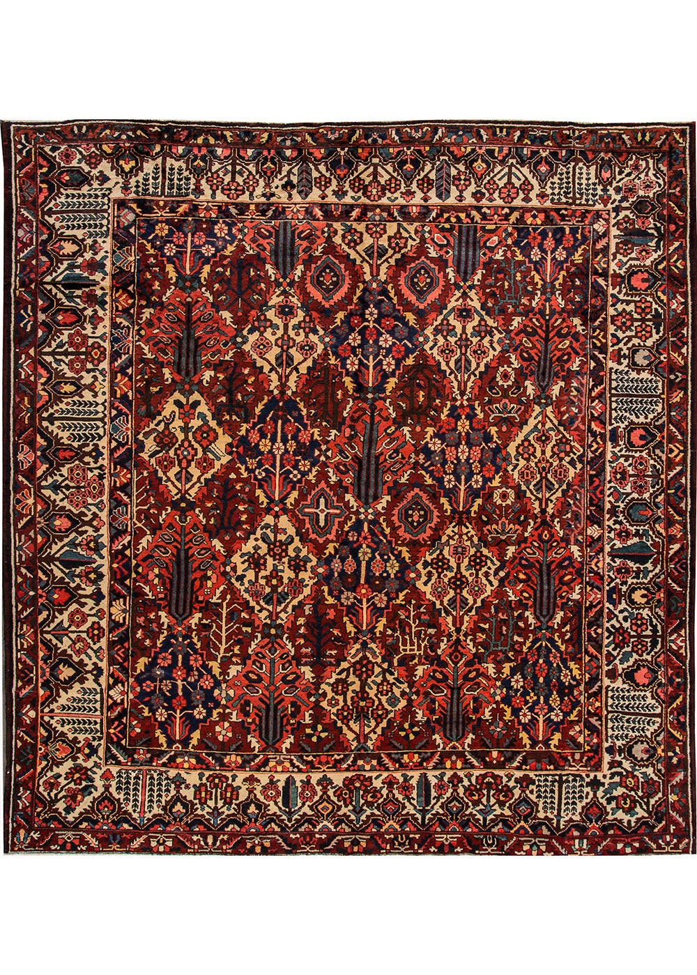 Antique Bakhtiari Rug, 11' X 11'