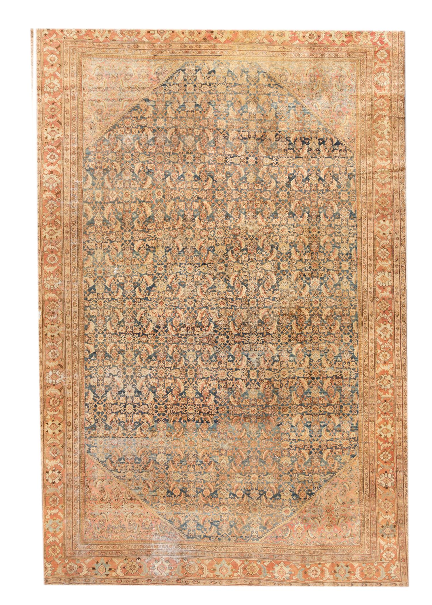 20th Century Antique Mahal Rug, 13' X 20'