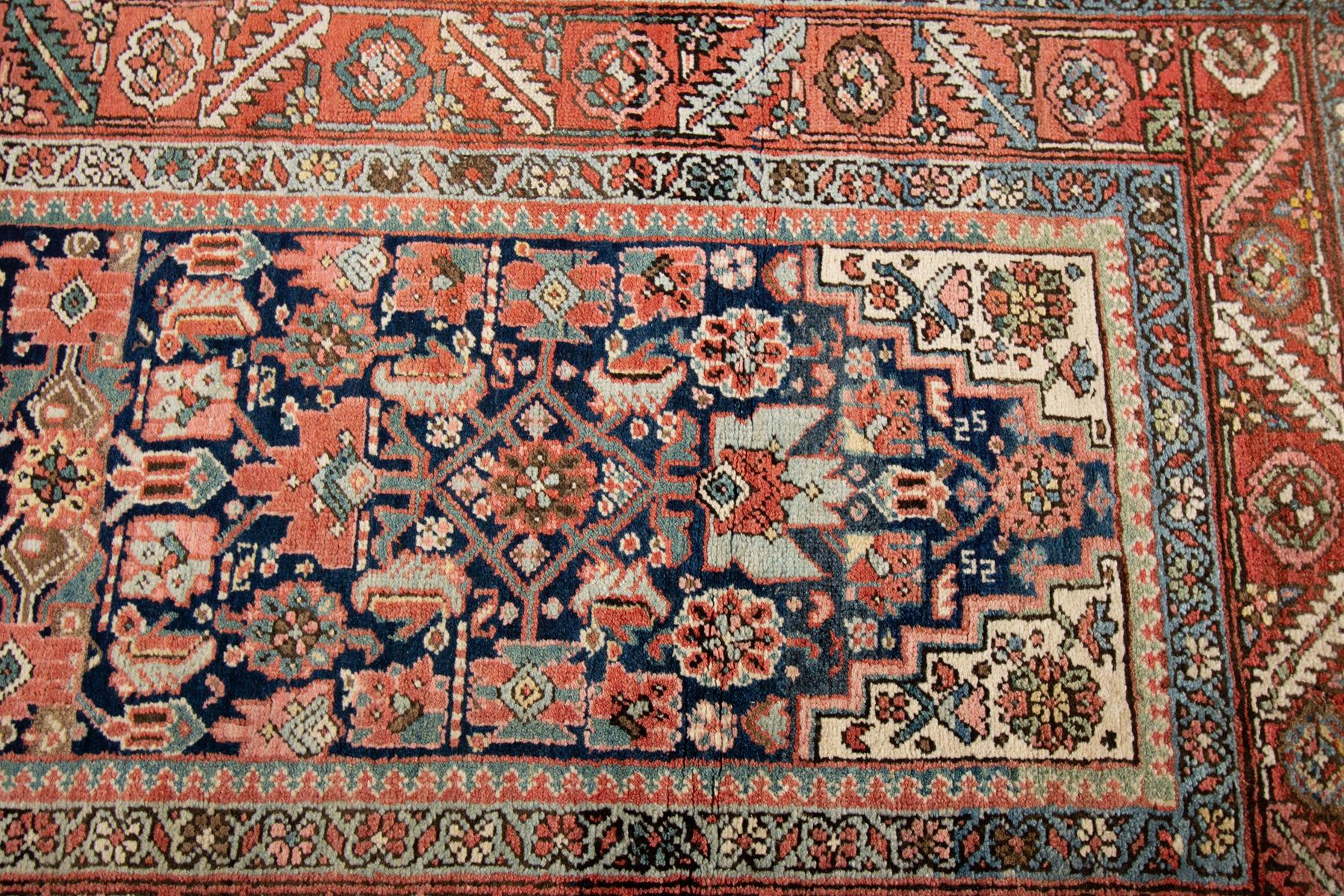 Antique Heriz Runner Rug, 3X17