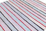Vintage Striped Lavender & Blue Turkish Kilim Rug, 6x11