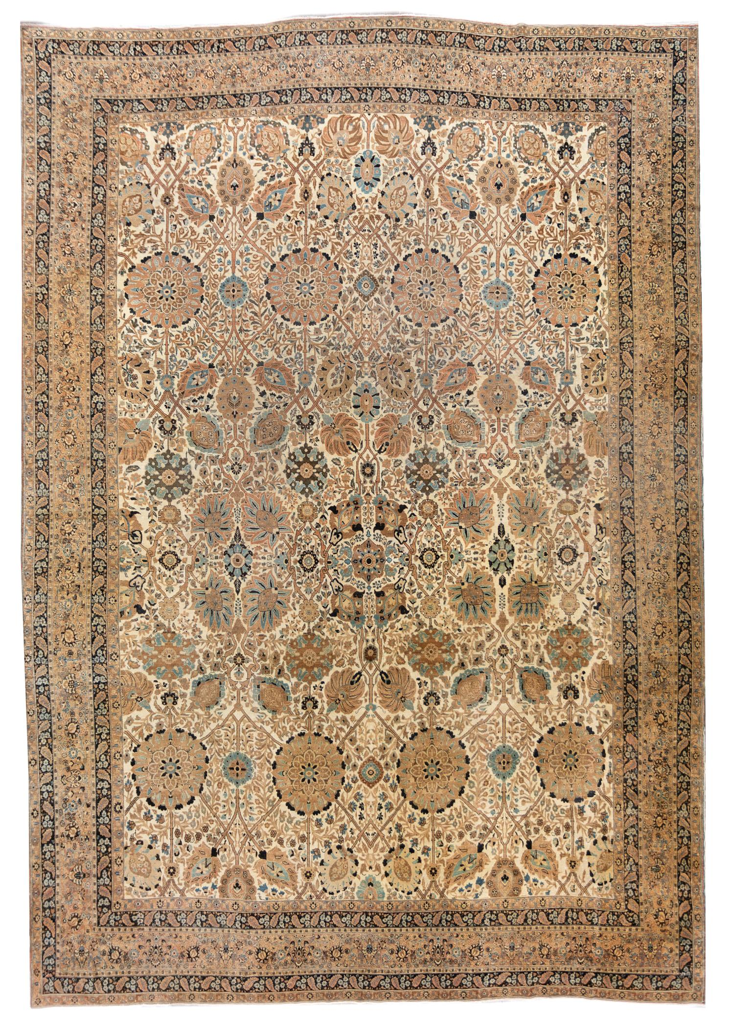 19th Century Antique Tabriz Rug, 13X18