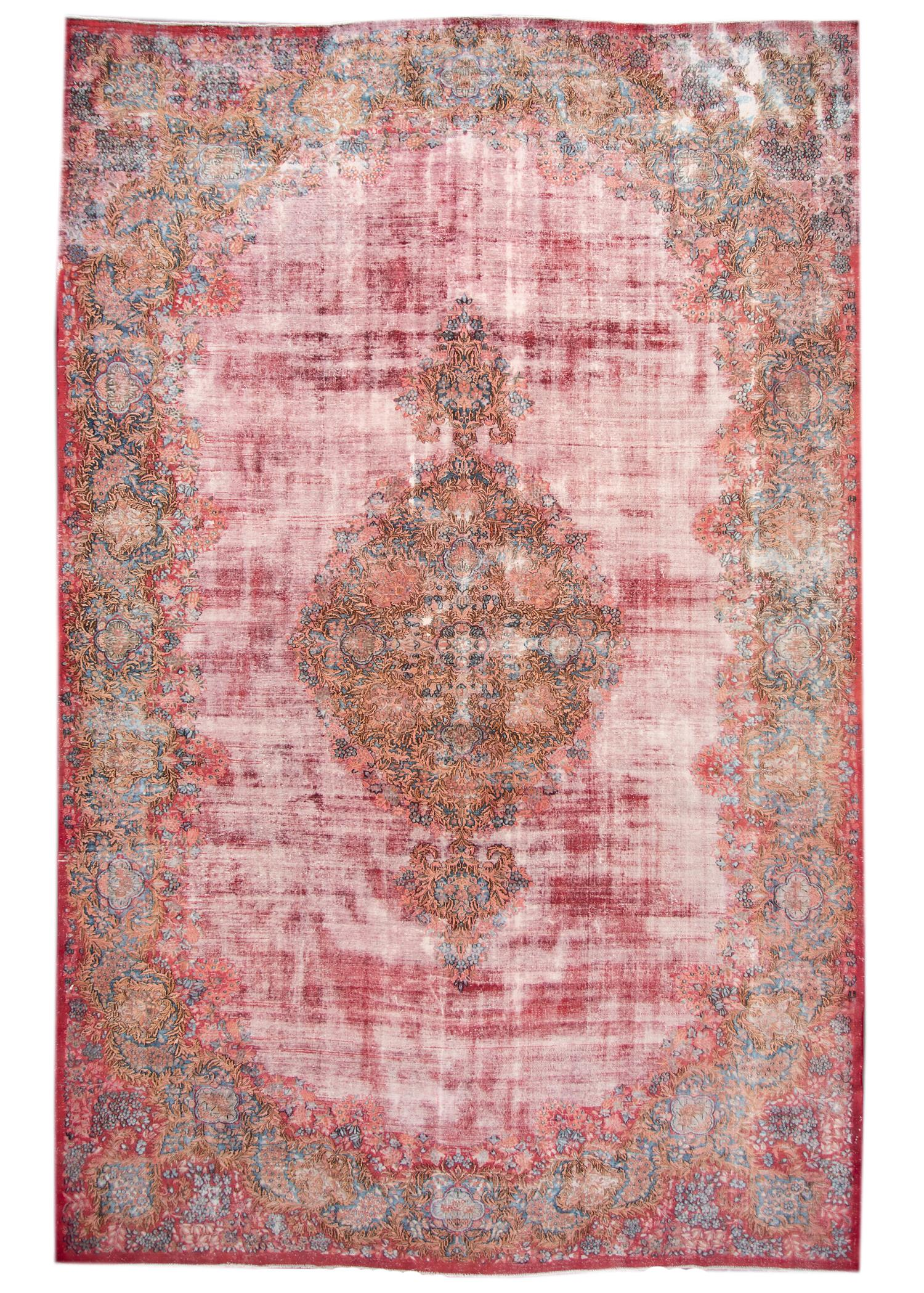 Vintage Distressed Kerman Rug, 11X17
