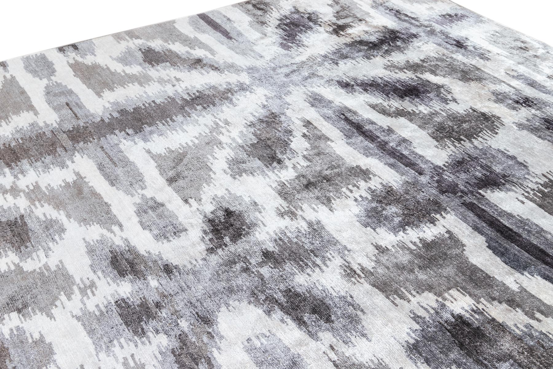 Contemporary Abstract Grey & White Silk Rug,10x14