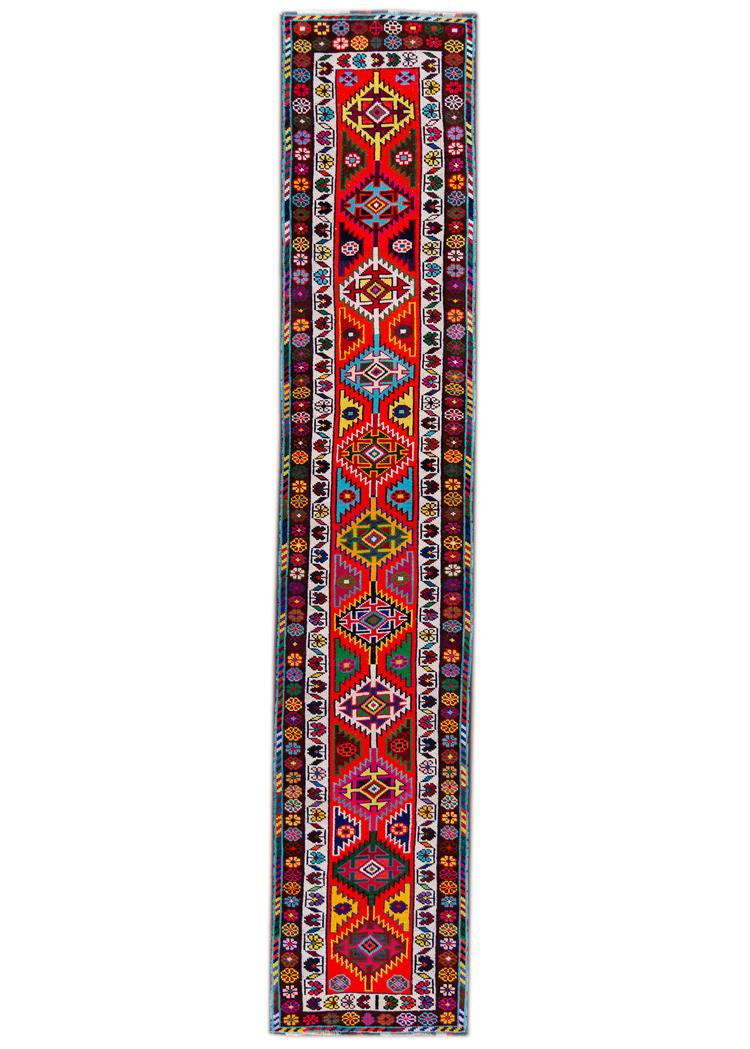 Beautiful Turkish Runner Rug, 3' x 14'
