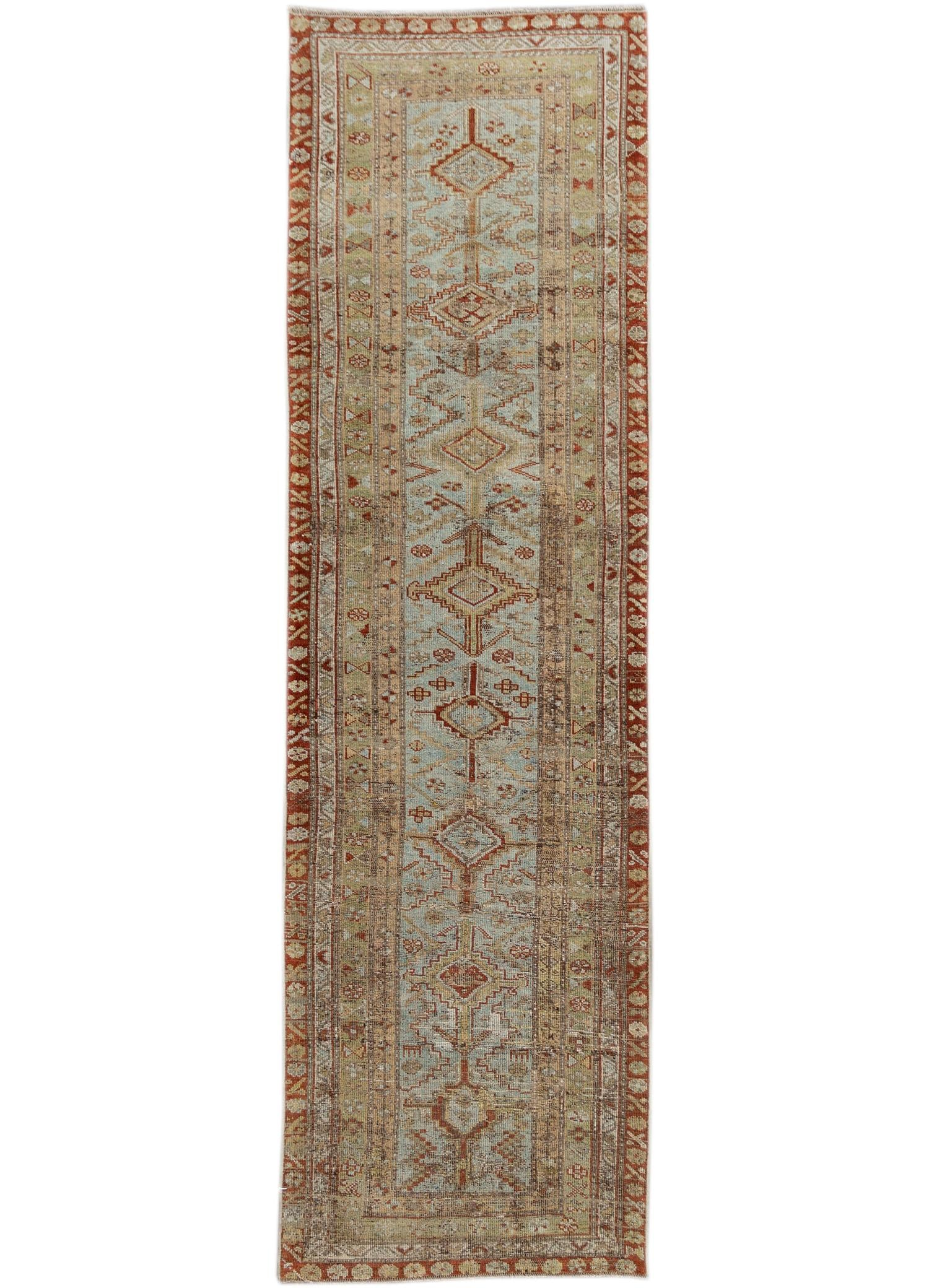 Antique Blue & Rust Persian Malayer Wool Runner Rug, 3x12