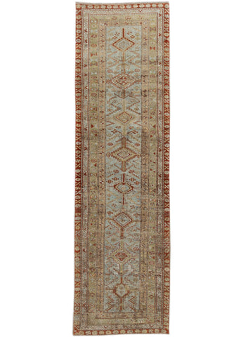 Antique Blue & Rust Persian Malayer Wool Runner Rug, 3' x 12'