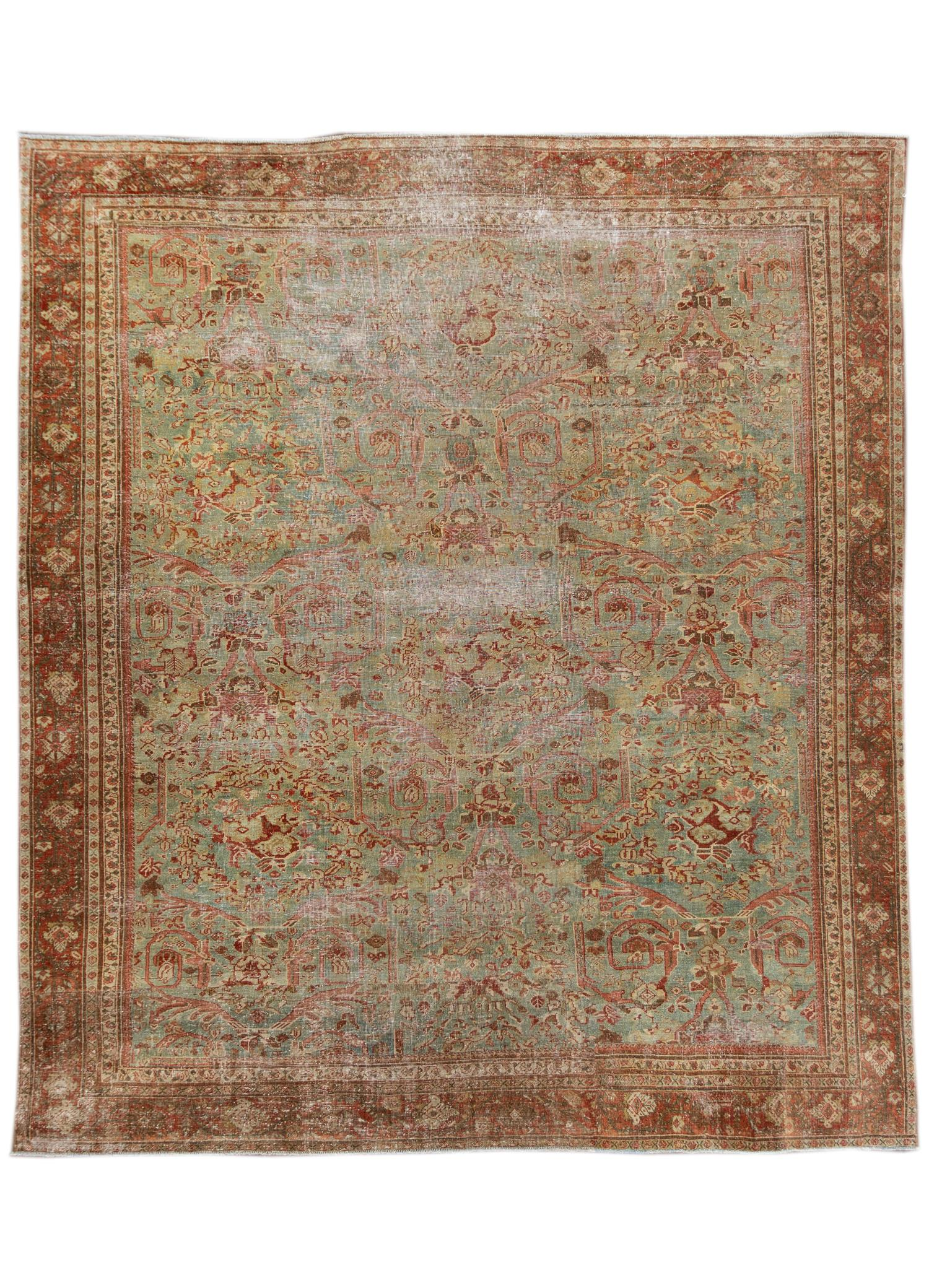 Antique Blue & Rust Malayer Wool Area Rug, 10x11