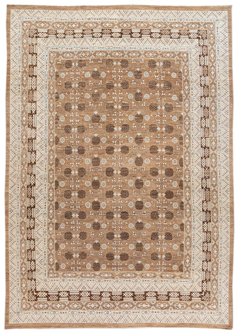 Contemporary Oversize Brown, Pale Blue and Ivory Khotan-Style Wool Area Rug 12' x 17'