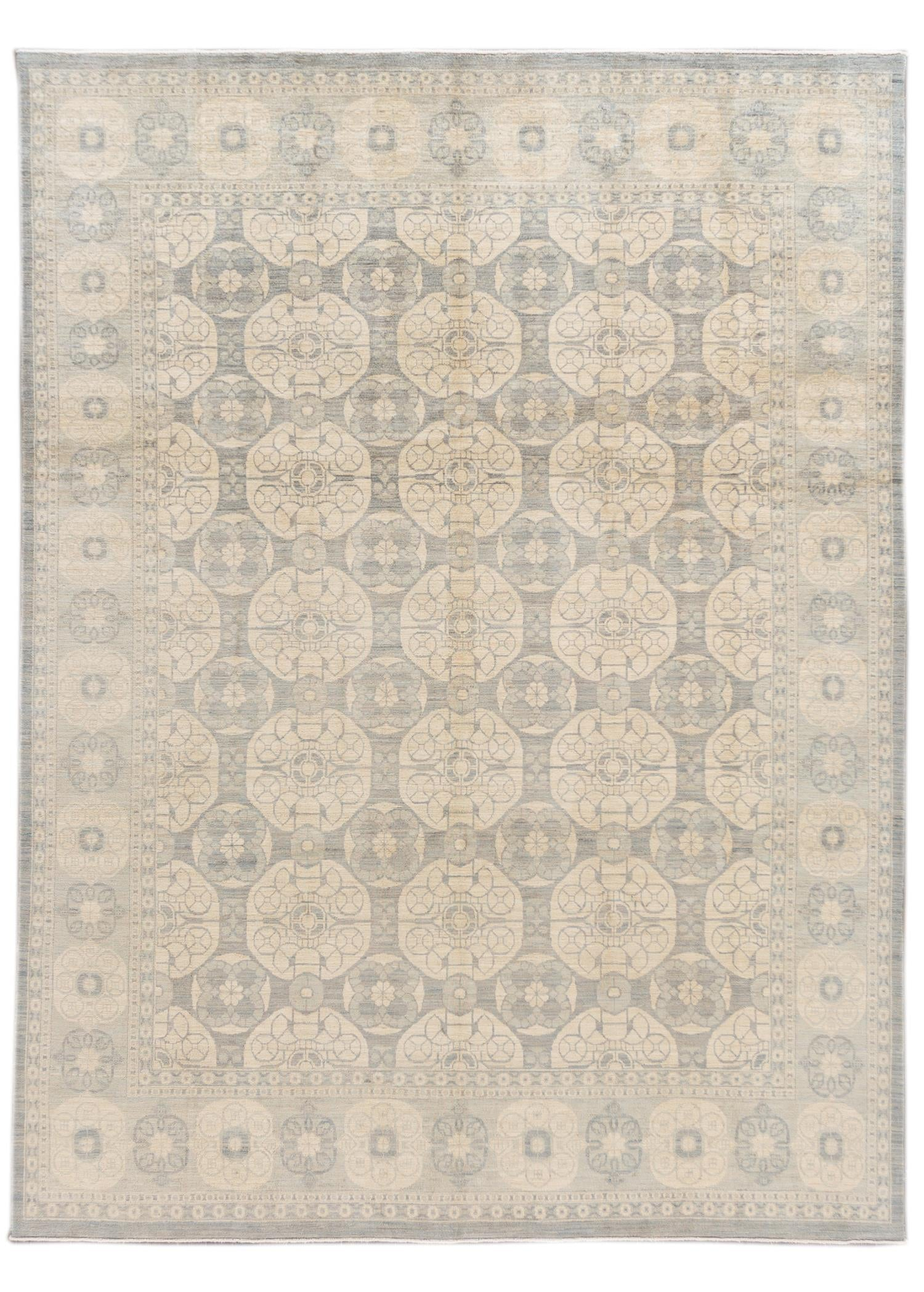 Contemporary Grey and Ivory Khotan-Style Wool Area Rug 9' x 12'