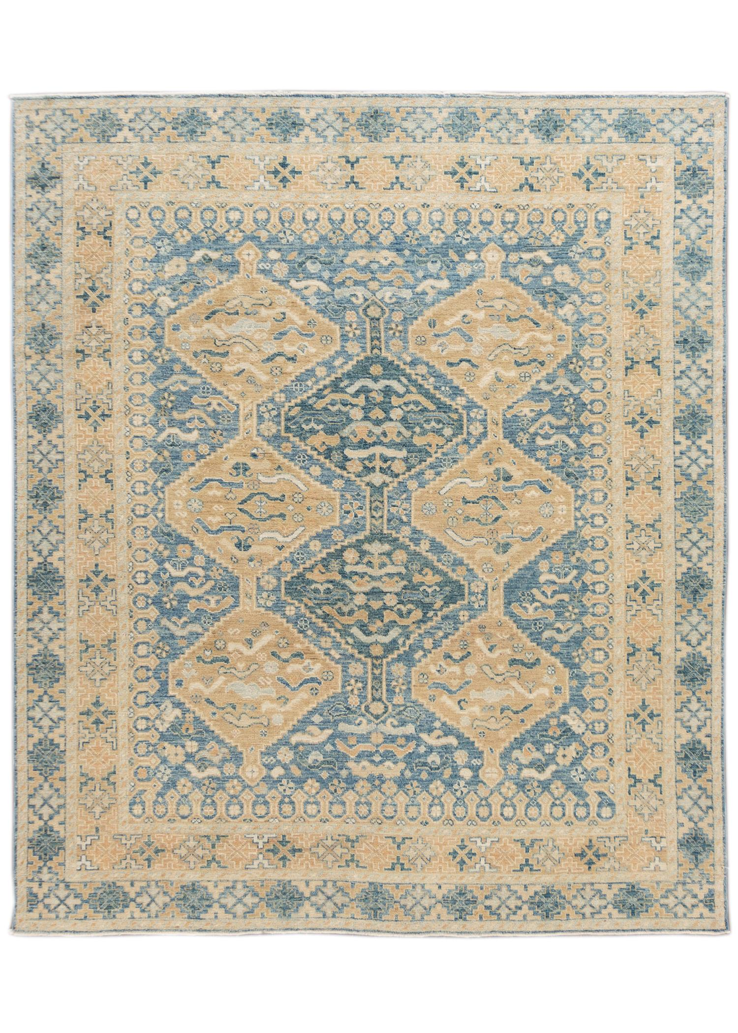 Contemporary Blue and Tan Oushak-Style Wool Area Rug 9' x 12'