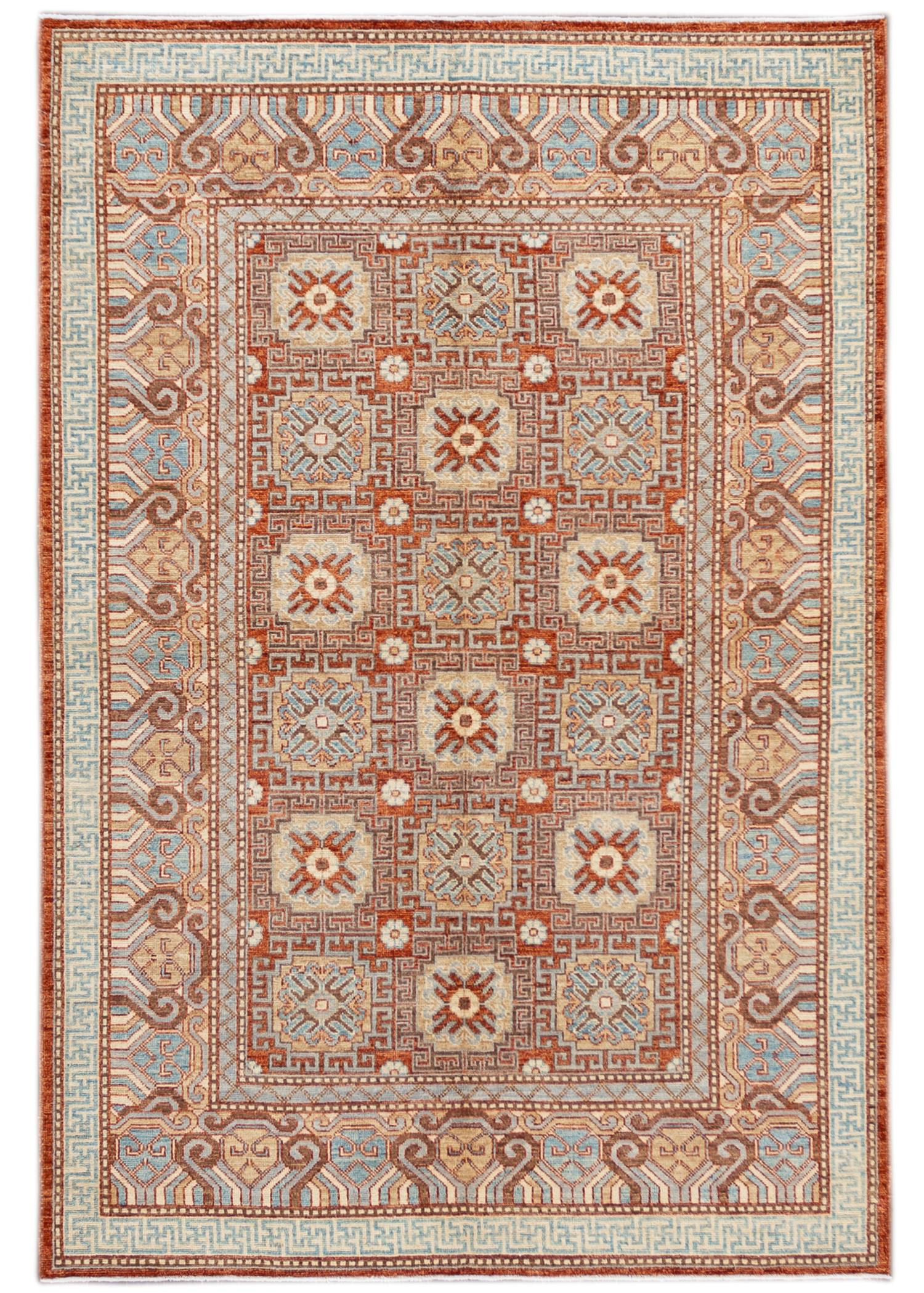 Contemporary Rust and Blue Khotan-Style Wool Area Rug 7' x 9'