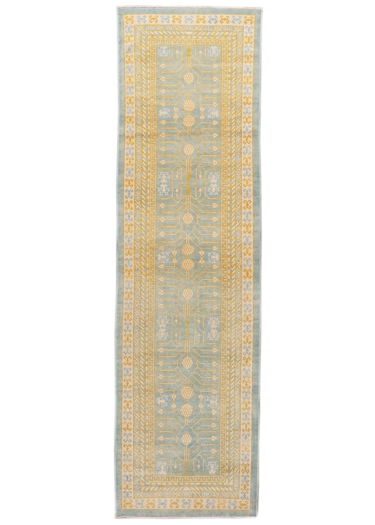 Contemporary Blue and Yellow Khotan-Style Wool Runner Rug 3' x 12'
