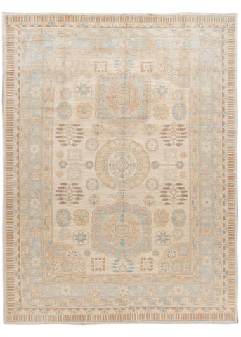 Contemporary Ivory and Blue Khotan-Style Wool Area Rug 10' x 14'