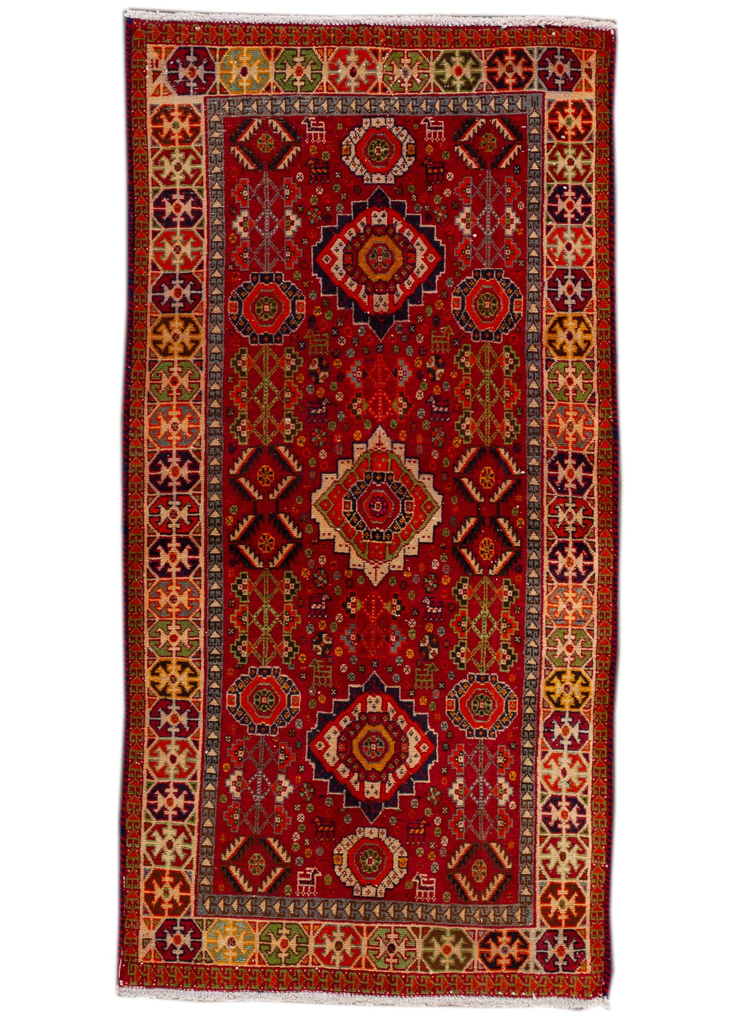 Late 20th Century Antique Heriz Persian Rug 3' x 5'