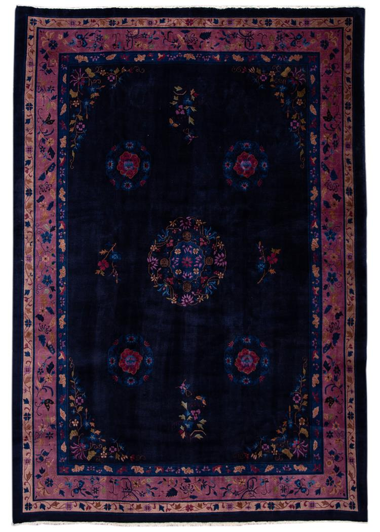 Antique Art Deco Dark Indigo and Purple Chinese Rug 9' x 2'